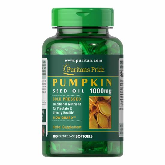 Puritan's Pride Pumpkin Seed Oil 1000 mg- 100 Softgels