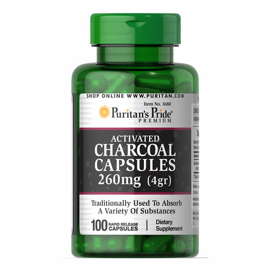 Puritan's Pride Activated Charcoal Capsules 260mg - 100 Caps