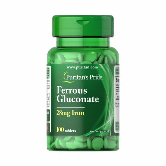 Puritan's Pride Ferrous Gluconate 28 mg Iron- 100 Tabs