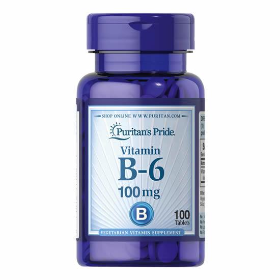 Puritan's Pride Vitamin B-6 100mg - 100 Tabs