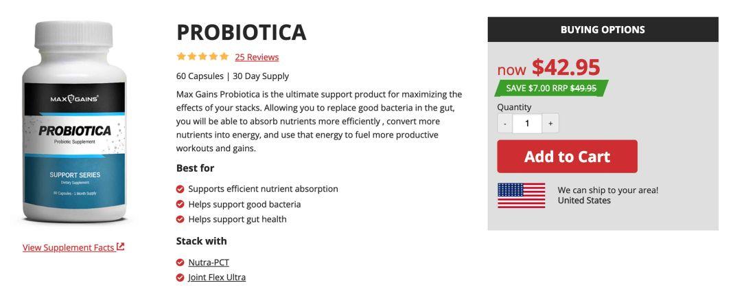 Max Gains Probiotica Supplement