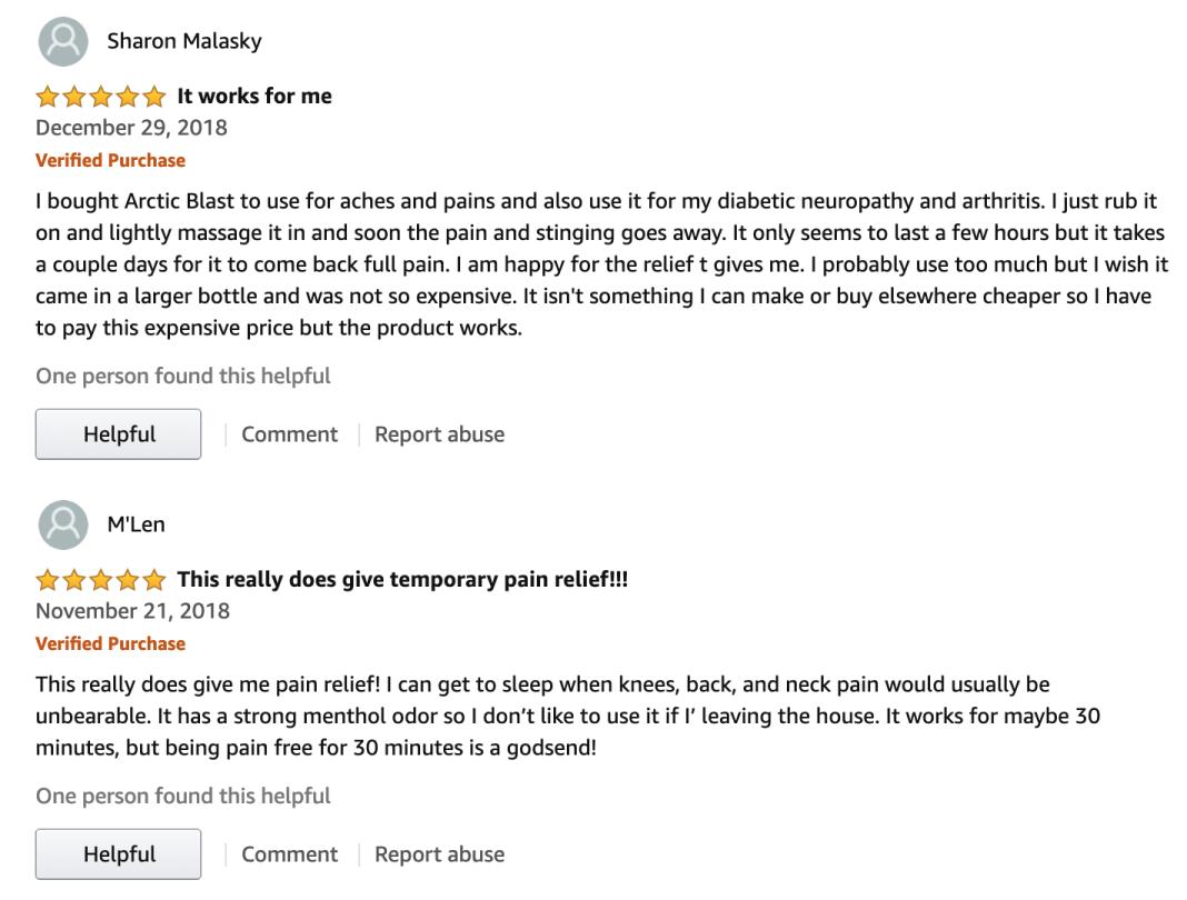 Arctic Blast User reviews Amazon