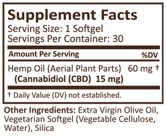 Plus CBD Oil Gold 15mg Supplement Facts