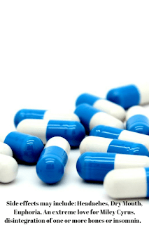 a picture of some pills with a white background, with some words