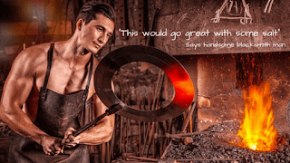 A man thinking about putting salt on to a big thing iron he pulled from the furnace