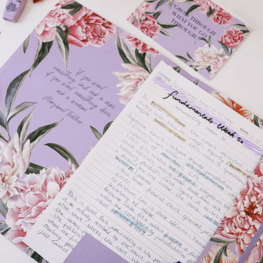 Document Folder in Luxurious Lilac Floral
