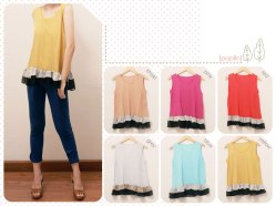 #1083 (only red, pink) Neapolitan @54 - crepe and chiffon - fit to L