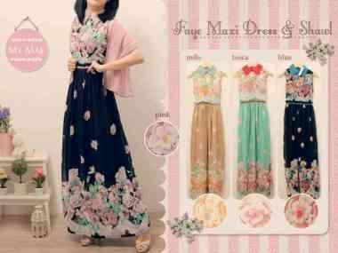 186 Faye Maxi dress + syal @89rb • seri4pcs Rp330rb • Cerutty • fit to L