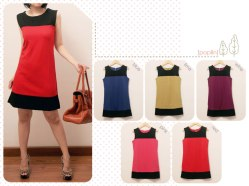 #963 (only wine, lime) Twiggy dress @62 - thick lycra ada sleting di belakang - fit to small L