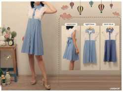 dress violin - idr62 - katun denim kombinasi brukat - fit to L besar