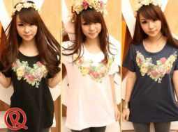 Flowery loose shirt @40 • seri3pcs Rp101rb • kaos fit to XL