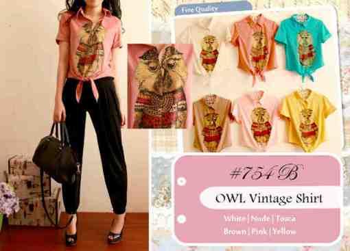 #754B-owl vintage(model kemeja)-ecer @50-seri3pcs Rp172rb-import fabric stretch-ld 96-DETAIL bagian bawah bs di serut