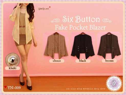 YN009 six button blazer- ecer @60rb - twiscone fit to L