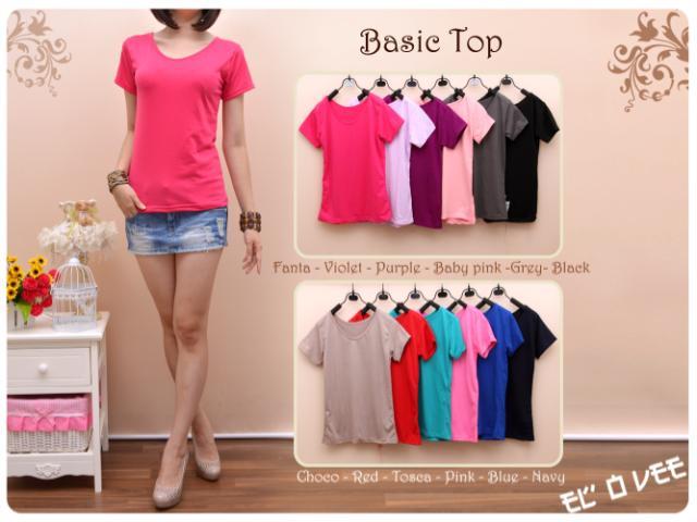 Basic top(FANTA, BABY PINK, PURPLE, TOSCA, BLACK) - ecer@39 - seri5w 165rb - bhn spandex - LD90-100cm