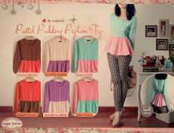 pastel pudding peplum - ecer @61rb - bahan twiscone fit to L
