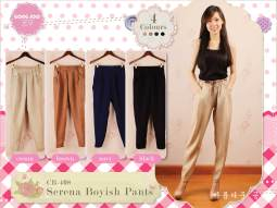 Serena boyish pants (TANPA WARNA CREAM) - ecer@61rb - seri3w 168rb - bahan serena - fit to L (no belt)