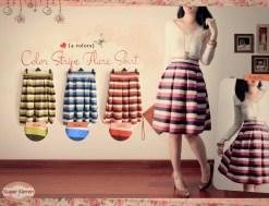 color stripe flare skirt - ecer@59 - seri4w 212rb - twistcone