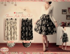floral midi skirt - ecer@61 - seri4pc 260rb - twiscone+full furing