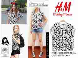 H&M lookalike Mickey Print - bahan Kaos fit to XL - ecer@40 - seri3pc 102rb