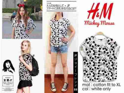 H&M lookalike Mickey Print - bahan Kaos fit to XL - ecer@40 - seri3pc 102rb