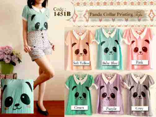 Panda collar printing top - ecer@56 - seri6w 300rb - twistcone