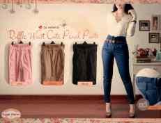 ruffle waist pants - ecer@62 - seri4w 224rb - bahan cotton stretch