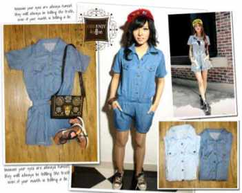 Safari Denim Jumpsuit - ecer@ - seri4pcs - fit to L - denim