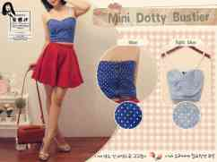 Dotty Bustier - bahan Denim Stretch fit to L blkg zipper & tali renda - ecer@54 - seri4pc 192rb