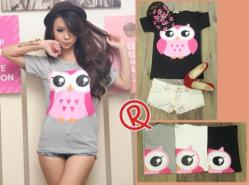 Pinky Owl Tee - ecer@37 - seri6pcs 186rb - kaos