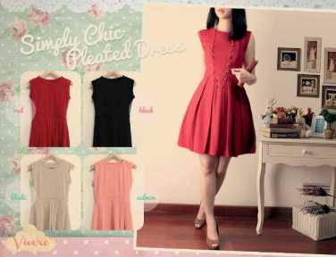 Simply Chic Pleated Dress - ecer@73rb - seri4w 268rb - bhn wedges tebal - fit to L