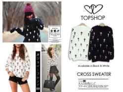Topshop Cross Sweater - bahan baby terry - fit to XL - ecer@56rb- seri4pcs 200rb