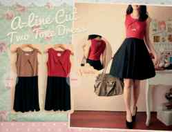 A-Line Two Tone - ecer@70rb - seri4pcs(2wrn) 260rb - bhn spandex tebal High quality • fit to L