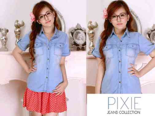 Basic Jeans Shirt - ecer@70 - seri4pcs 260rb - bahan jeans asli - fit to L