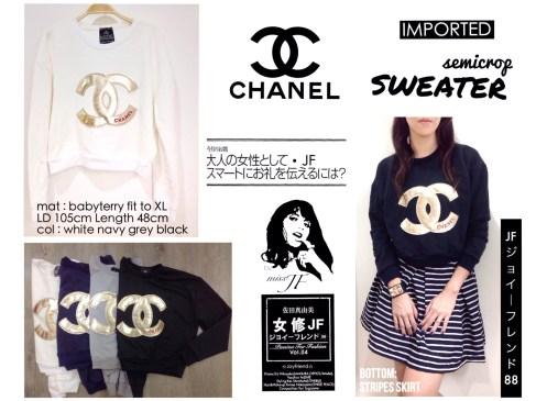 [IMPORT] Chanel Sweater - ecer@84rb - seri4w 316rb - bahan kaos tebal model semicrop + aplikasi Gold Kulit - fit to XL