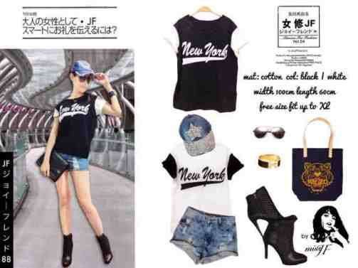 New York Loose Tee - ecer@38 - seri4pcs 132rb - bahan Kaos fit to XL