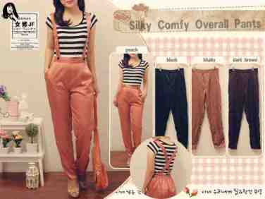 Silky Overall - ecer@62 - seri4w 224rb - bahan Satin fit to L besar - tali bisa dcopot