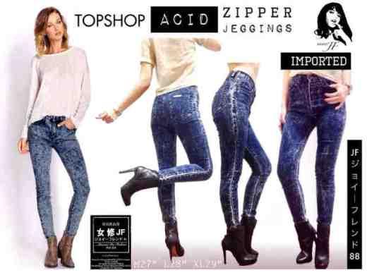 Import Bangkok - Topshop Acid Zipper - ecer@130rb - seri3uk(M-L-XL) 375rb - bahan Stretch Jeans