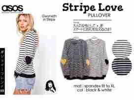 Asos Stripe Love - ecer@57rb - seri4pcs 208rb - bahan Spandex - fit to XL + Velvet Love Patch