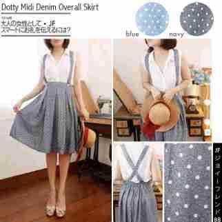 Dotty Midi Skirt - ecer@64rb - seri4pcs 232rb - bahan Denim Print motif mirip jeans - fit to sz30