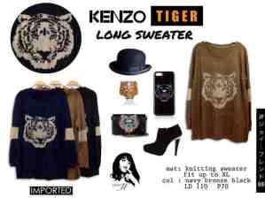 IMPORT -Tiger Long Sweater - ecer@98rb - seri3w 279rb -bahan Rajut + Benang Emas di Tiger & Siku
