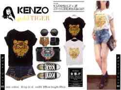 Kenzo Gold Tiger - ecer@40rb - seri4pcs 140rb - bahan kaos + foil emas - fit to XL