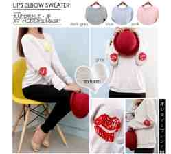Lips Elbow Sweater - ecer@60rb - seri4w 220rb - Spandex Textured - fit to XL