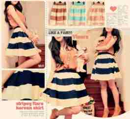 Stripey Flare Korean Skirt - ecer@ 57rb - seri4w 204rb - bhn twistcone +full furing - pinggang full karet - fit to L