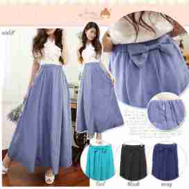 Back Ribbon Maxi Skirt - ecer@67rb - seri4w 244rb - twistcone + full furing +karet + resleting samping - fit to L