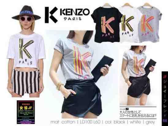 (READY +-RABU) K Kenzo Paris - ecer@40rb - seri3w 115rb -bahan Kaos + Print Beludru - fit to XL (Bukan crop)