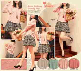 Rose Emboss Candy Top - ecer@60rb - seri4w 220rb - bhn wedges import emboss - fit to L