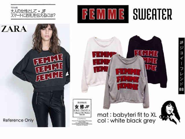 ZR Femme Sweater - ecer@57rb - seri3w 158rb - bahan Babyterri + Velvet Print - fit to XL
