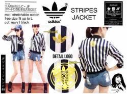 Adidas Stripes Jacket - seri4pcs 200rb - bahan Twiscone - fit to L - Foil Emas di dada & punggung