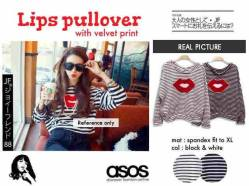 Asos Lips Pullover - seri4pcs 150rb - bahan Spandex+ velvet print bibir - fit to XL