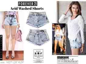 F21 Acid Short - ecer@93rb - seri3uk(M-L-XL) 264rb - bahan Jeans Tebal Nonstretch